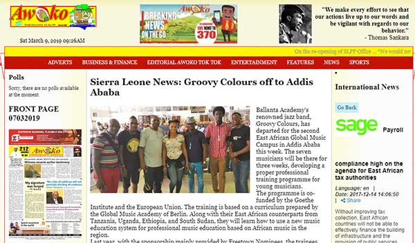 Sierra Leone News Groovy Colours Off To Addis Ababa
